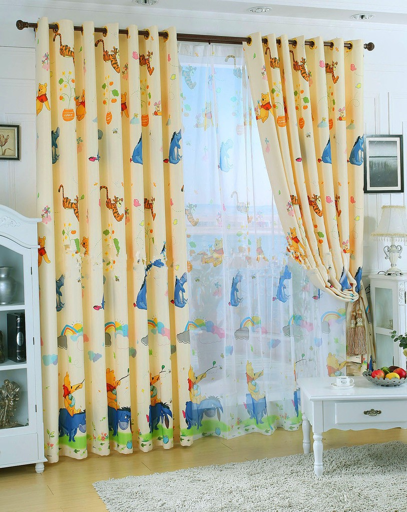 eco friendly curtains for kids pooh bear cartoon curtains sheer curtains 100blackout curtains - Blackout Shades For Baby Room