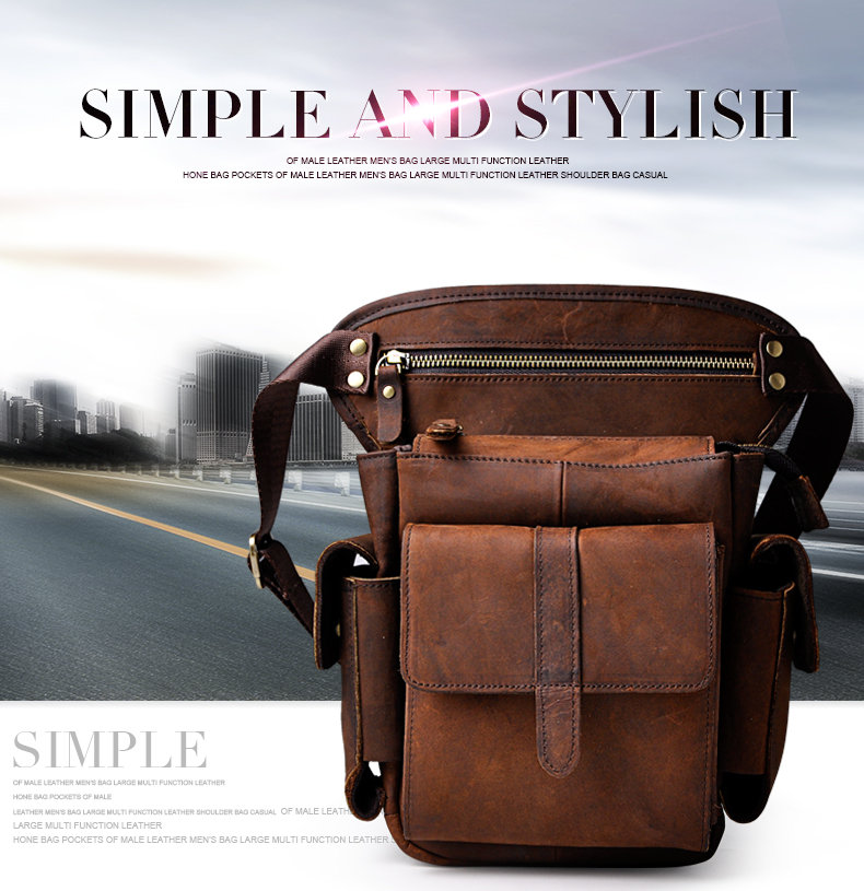 Fine Jewelry Genuine Leather Design Multifunction Men Shoulder Messenger Bag Fashion Heavy Duty Belt Waist Pack Leg Bag Tablets Pouch 913-5db