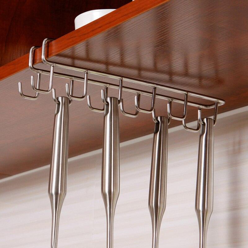 6 Hooks Cup Holder Hang Kitchen Cabinet Under Shelf: Coffee Cup Holder 12 Hook