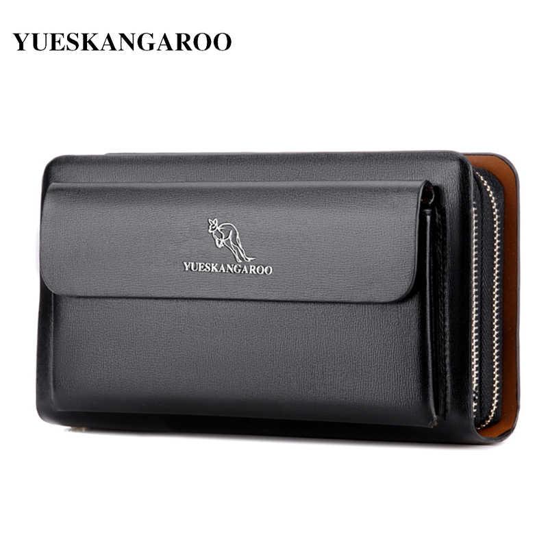 3d7619228f5 KANGAROO Brand Men Clutch Bag Fashion Leather Long Purse Double Zipper Business  Wallet Black Brown Male