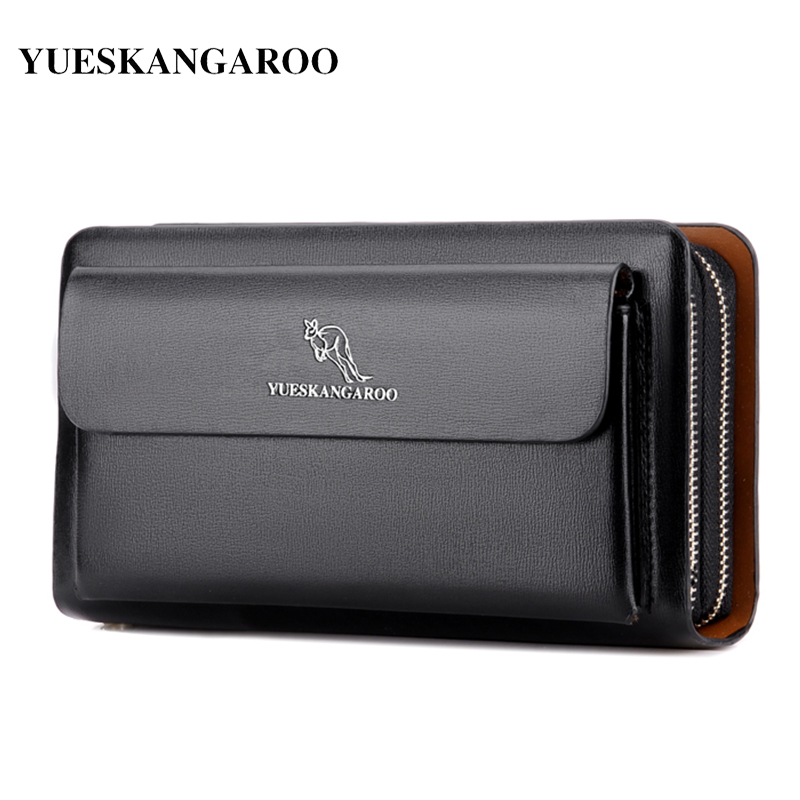 KANGAROO Brand Men Clutch Bag Fashion Leather Long Purse Double Zipper Business Wallet Black Brown Male Casual Handy Bag