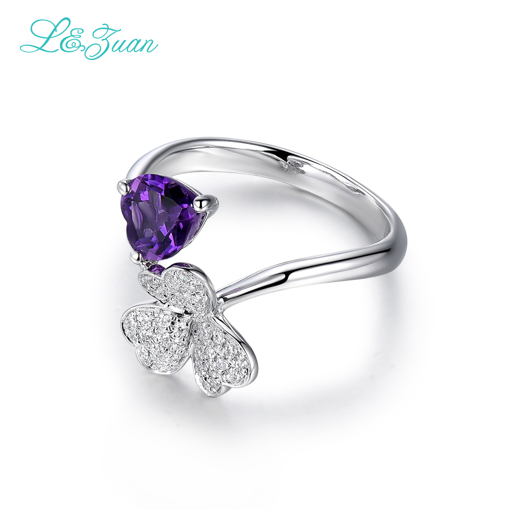 цена на l&zuan Sterling Silver Jewelry Ring & Natural 1.60ct Amethyst Purple Stone Prong Setting Ring Jewelry For Trendy Woman Ring