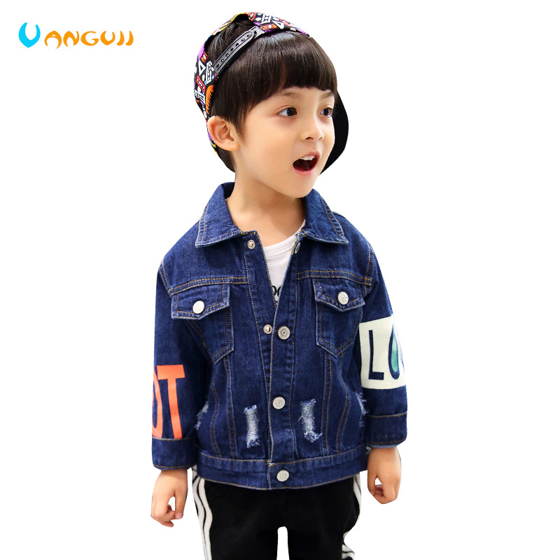 boys autumn coat denim jacket for kids 1-7 years old Washed hole outwear Color printing fashion Personality sleeves all match
