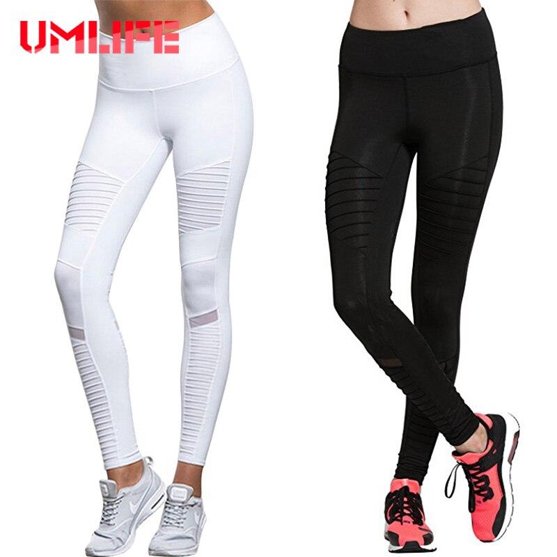 UMLIFE Yoga Pants Leggings Slim Compression High Waist Women Yoga Running Jogging Gym Fitness Leggins Black/White Mesh