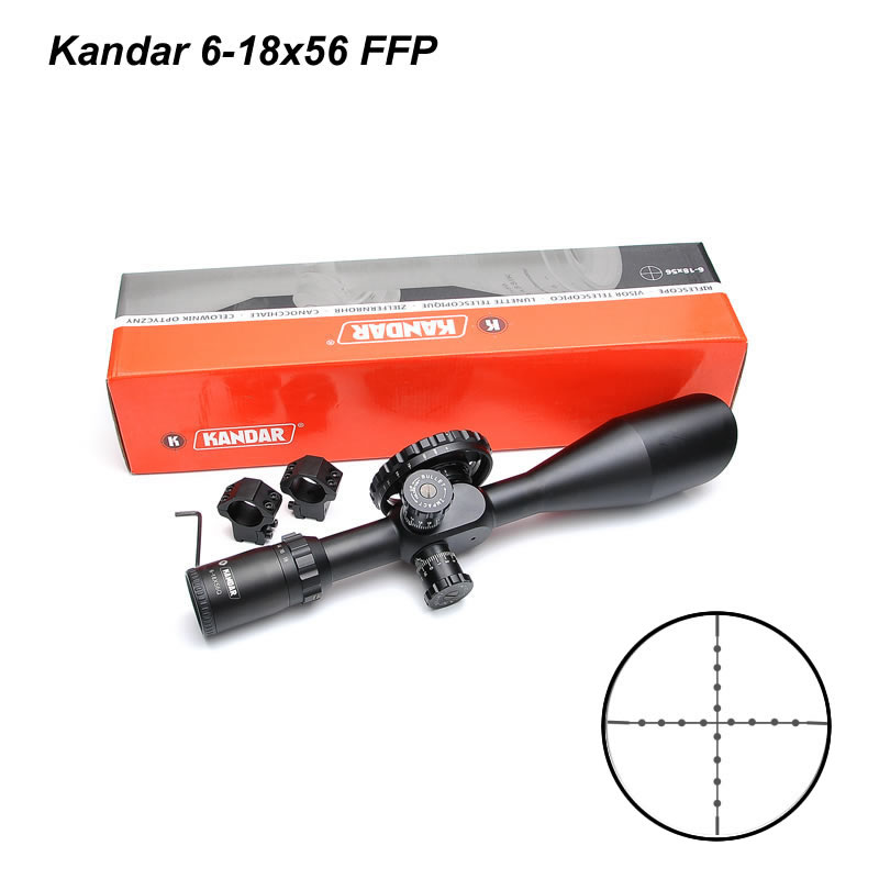 Kandar 6-18x56 FFP First Focus Plane Riflescopes Competitive Price 30mm Tube Diameter Hunting Sight Scope For Sniper