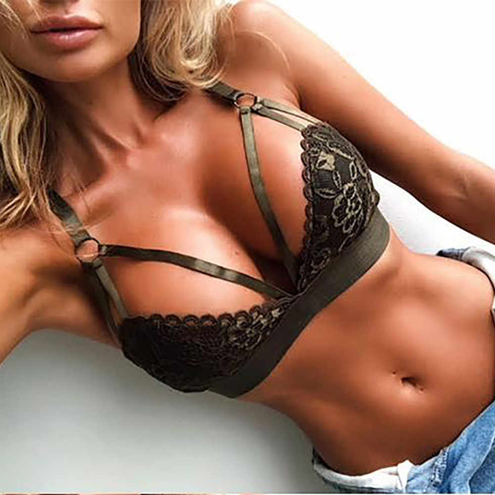 2019 Women Fashion Sexy Lace Bra Lingerie Underwear Embroidery Bandage Bra Backless Bustier Adjusted Brassiere  Nightwear