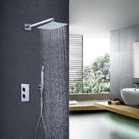 Homedec 8 Wall Mounted Bathroom 2 Functions Thermostatic Waterfall Rain Shower Mixer Faucet With Handheld Shower Set