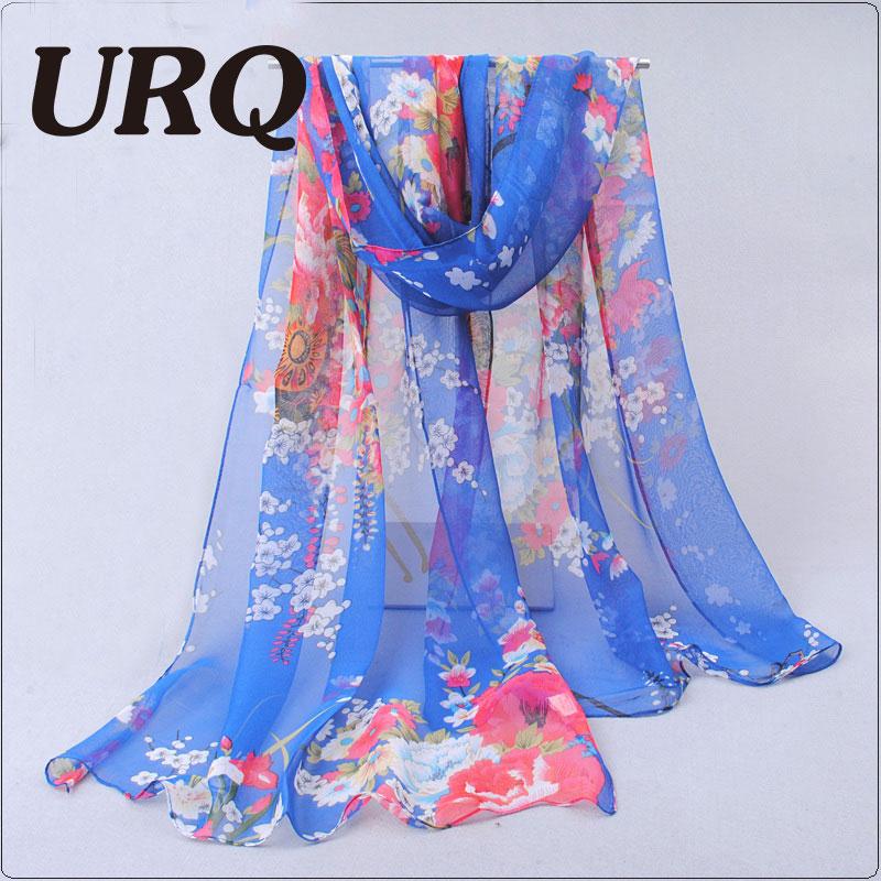 Scarves & Wraps: Spring Style Long Chiffon Silk scarves 50*160cm Floral style flowers Floral print scarves Woman Scarf Q5A16281