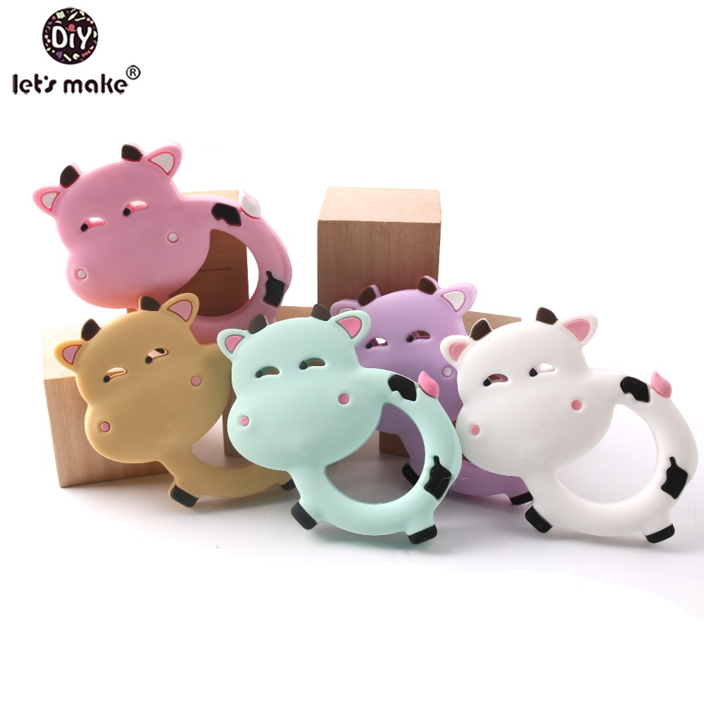 Let's Make Silicone Teether 1pc Pendant Cow Animal 4-6 Months PVC Free DIY Accessories Bracelet Pacifier Chain Teethering Toys