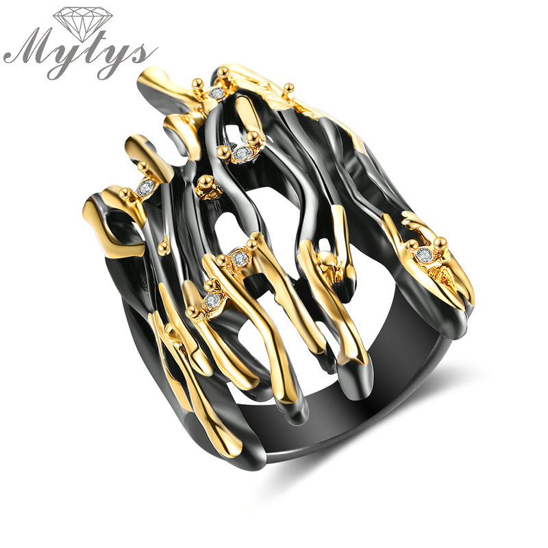 Mytys Geometric Branch Design Half Finger Ring Black Gun Yellow Gold Double Color Punk Ring Hyperbole Big Rings Jewelry R2008 bcosh a hyperbole and a half