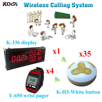 wireless table calling system For Restaurant with factory price 1 led display + 4 watch pager + 35 call button