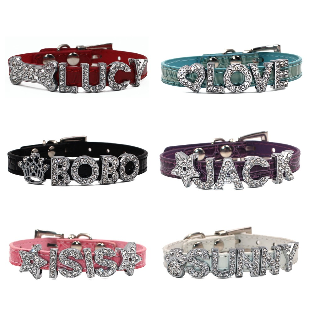10MM Bling Personalized Pet Dog Collar Rhinestone Customized Free Name Diamond  Bucklet Puppy Collars for Small dogs [CO013]