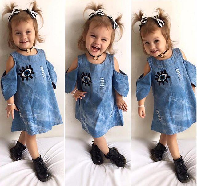 ae4ad9534ae9 Fashion Toddler Kids Baby Girls Denim Dress Big Eye Appliques Princess  Dress Girl Outfits Clothes