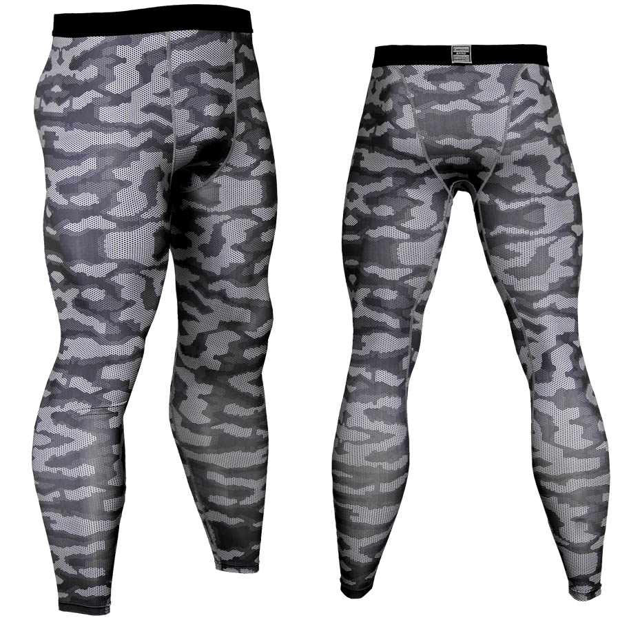Mens Compression Pants Workout Sports Gym Long Tights Spandex Camo Print 2018