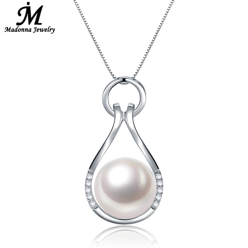 New Arrivals High Quality Women Simulated Shell Pearl Necklace Pendants Crystal Inlay Design silver Jewelry