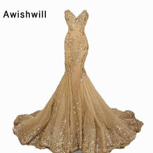 V-neck Sweep Train Appliques Beadings Mermaid Evening Dress Long Party Occasion Gowns New Arrival 2017 Formal Dress Women