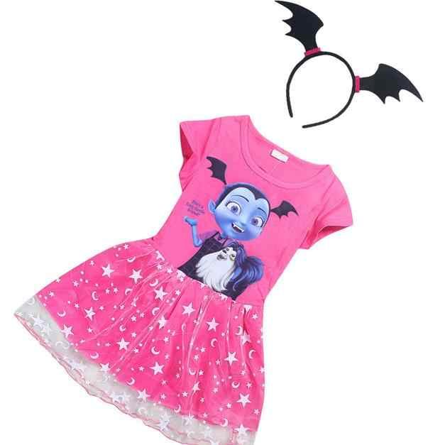Vampirina Dress for Girls Princess Birthday Party Dress+Head hoop Children Vampire Costume Kids Clothes Vestidos Baby Clothing