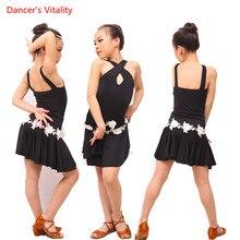 Niños Salón danza salsa Tango rumba Samba traje niño profesional Latino  danza para Niñas Flamengo f34012df72e58