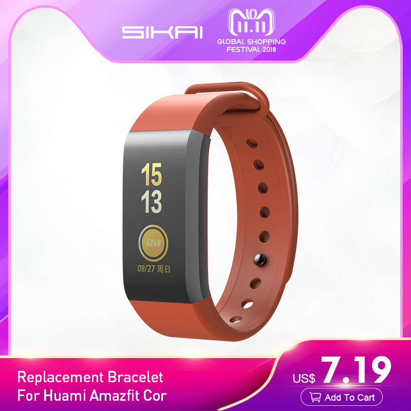 купить SIKAI Sillicone Watch Strap for Huami Amazfit Cor Replacement Comfy Colorful Bracelet Watch Bands for Huami Amazfit Cor band по цене 611.3 рублей