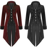 New 2018 Arrival Fashion Mens Tailcoat Jackets Goth Steampunk Retro Style Uniform Costume Party Outwear Coat Free Shipping 25