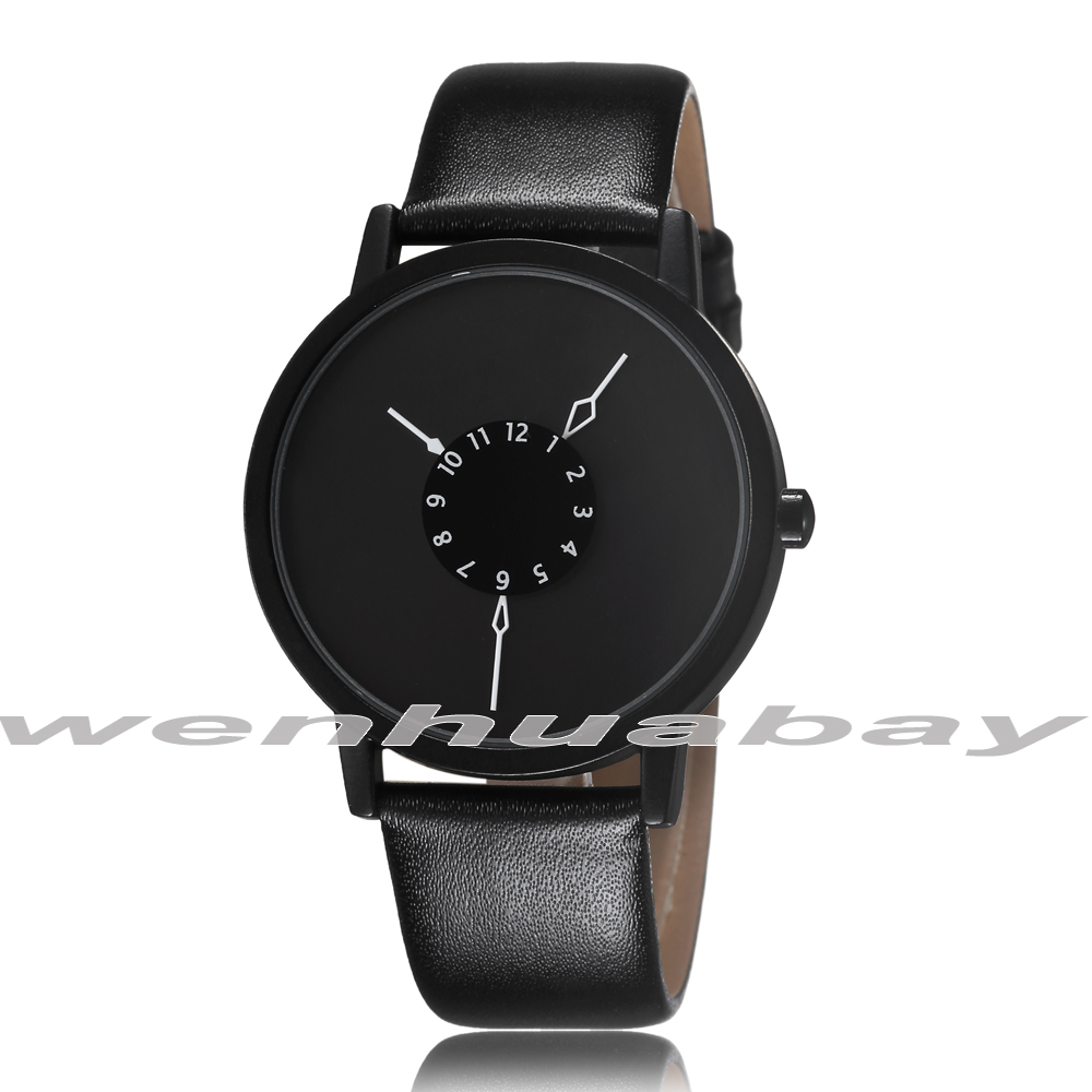 New Round Dial Simple Style Leather Band Quartz Wrist Watch Analog Women Lady Men Unisex Best Gift 2 Colors Q0942-1