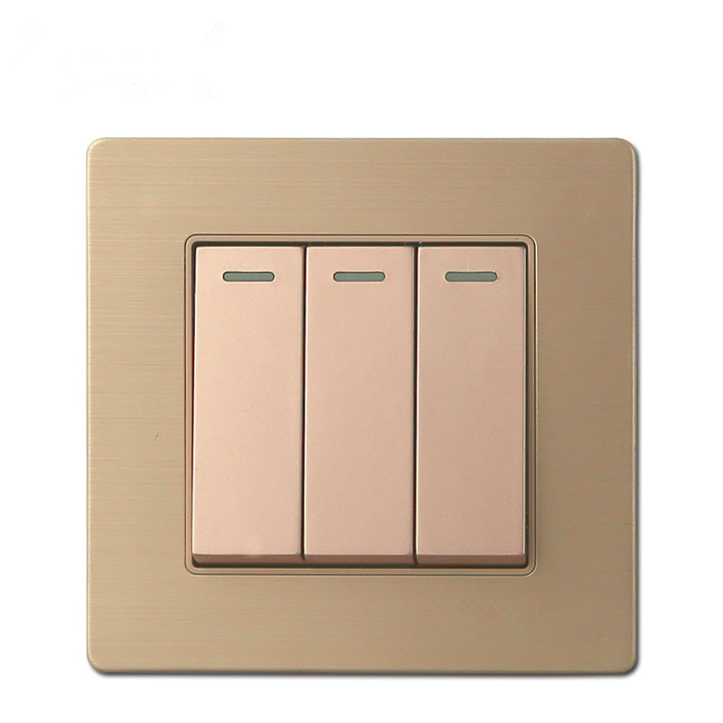 16a Gold Color 3 Gang 1 Way    2 Way Wall Switch And 250v