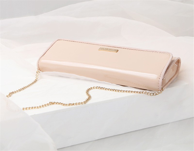 New Elegant Pure 3 Color Dinner Banquet Bag PU Leather High Quality Evening bag with chain HBF37 (7)