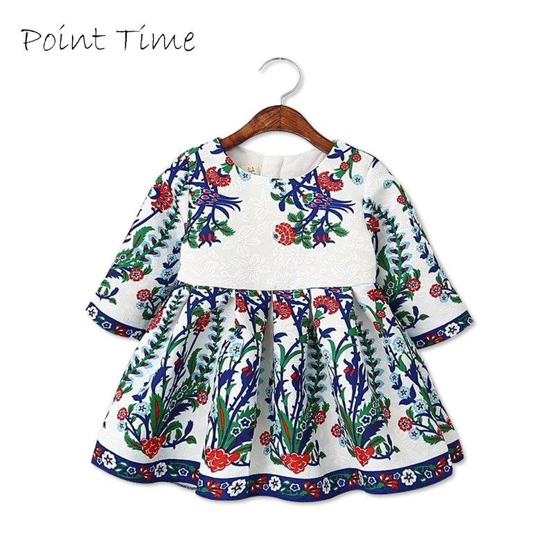 Girls Dresses Summer 2016 Three Quarter Sleeve O-Neck Princess Costumes for Kids Dresses Temperament A-Line Dress Girls Clothes