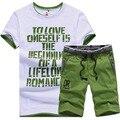 Camisas de t + shorts marca clothing homens tshirt homme conjunto sportswear m-4xl 2017 t-shirt letra impressa terno masculino