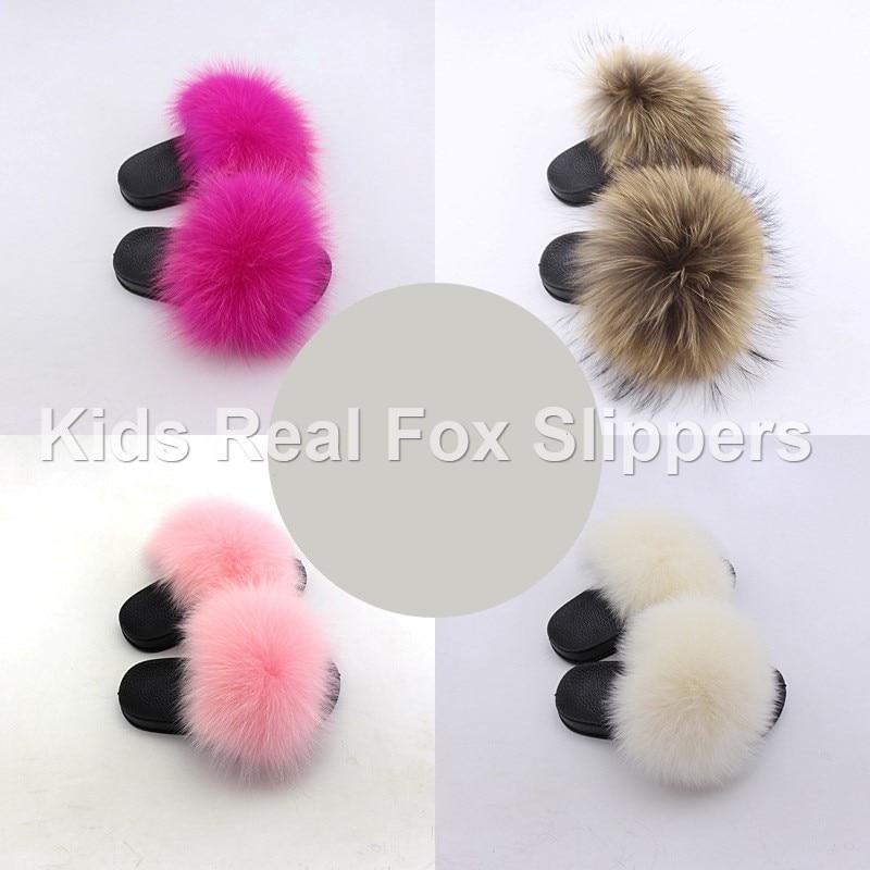 Kids Fur Slides Furry Home Slippers Fluffy Slides Indoor Summer Flat Sandals Flip Flops Brand Luxury Girls Shoes 2020 Size 24-35