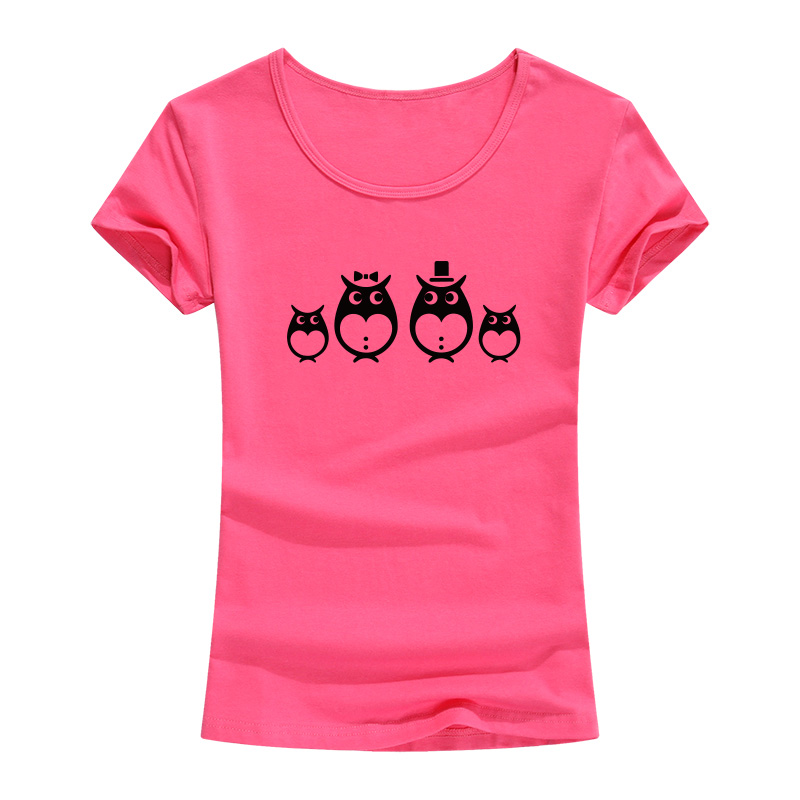 Owl Animal Print Harajuku 2017 Slim Cotton T Shirt Women Lady Tops Short Sleeve O-neck Casual Tee Shirt Carton Costumes Female