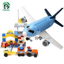 Tamanho grande feliz duplosize aeroporto blocos de construção 69 pcs educacional do brinquedo do bebê brinquedo tijolos de construção blocos compatível com lego