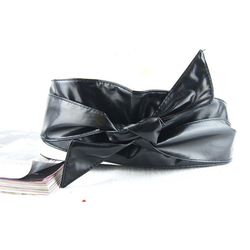 Woman Elastic Belt Soft Belt Female Bow Wide Waist Seal Solid Color Casual Accessories Wild PU Leather Belt Twotwinstyle