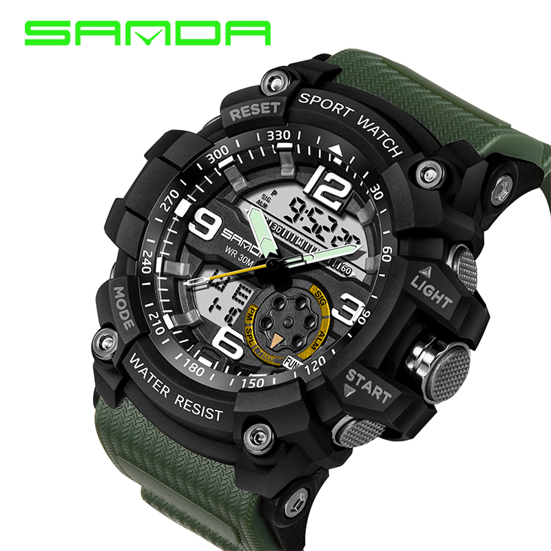 SANDA New Digital Watch Men Military Army Sport Watch Water Resistant Date Calendar LED Electronics Watches