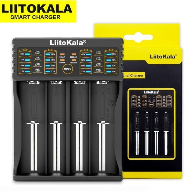 Liitokala Lii-402 Lii-202 100 18650 شاحن 1.2 V 3.7 V 3.2 V 3.85 V AA/AAA 26650 10440 16340 نيمه بطارية ليثيوم الشواحن الذكية