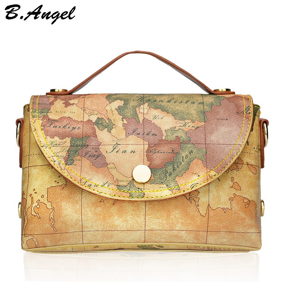 New fashion high quality world map women bag women messenger bags Totes Satchels dollar price цена и фото