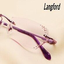 Langford das mulheres sem aro óculos de armação óptica óculos óculos sem aro de lente de corte de Diamantes de luxo mão-feito 030