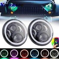 7 Round DRL Headlamp Flashing RGB Angel Eye Halo Ring Bluetooth Controlled For Toyota Land Cruiser FJ40 RGB 7Inch Led Headlamp