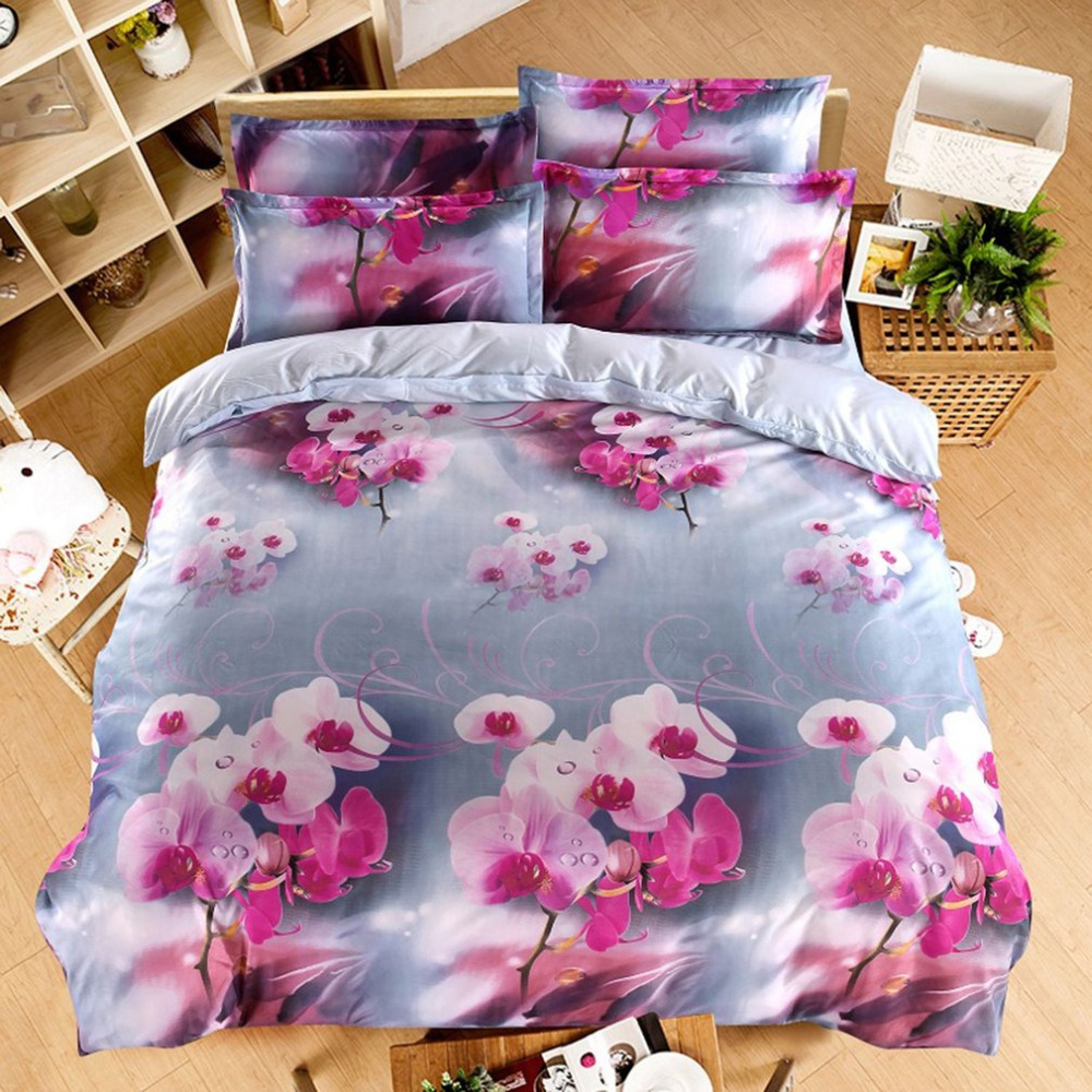 4PCS/SET Comfortable Bedding Set 3D Floral Printed Home Bedroom Bed Clothes Duvet Cover ...