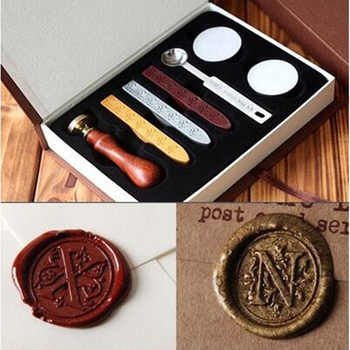 New Vintage wood Alphabet Badge Seal Stamp Wax Kit Set for diy scrapbooking stamp wedding invitations Envelope gifts - DISCOUNT ITEM  20% OFF All Category