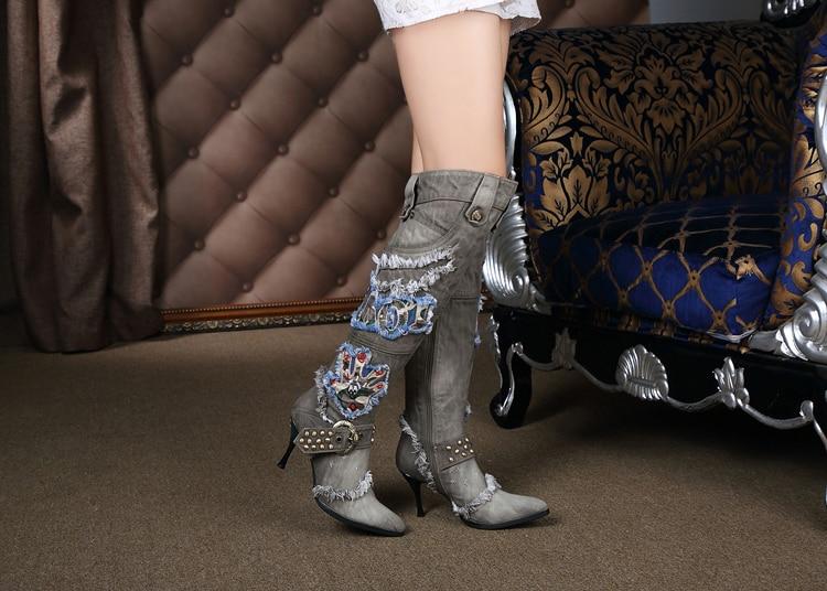 Patchwork Pointu A1 Dame Au Genou Cours Bleu Denim Mode Bottes La Bout noir Rivets xr0qw06O8E