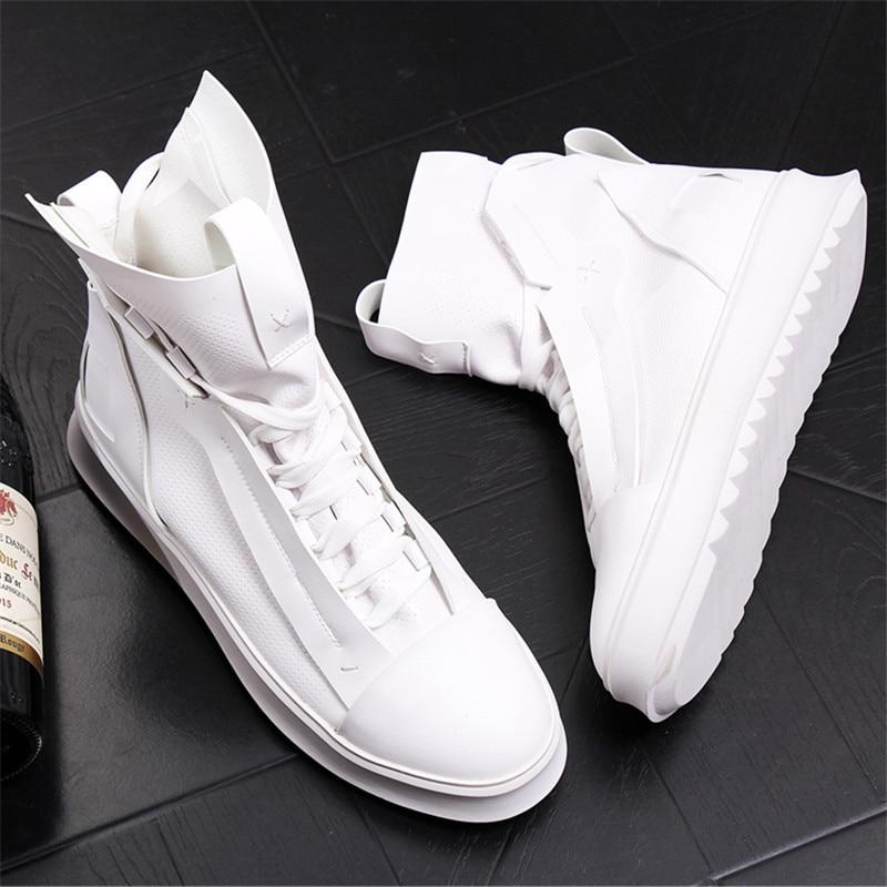 white leather fashion sneakers