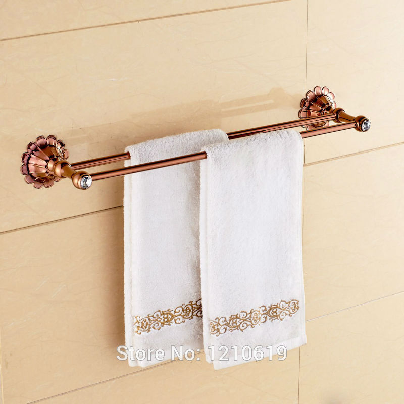 Newly Crystal Flower Bath Towel Bars Rose Gold Plate Dual