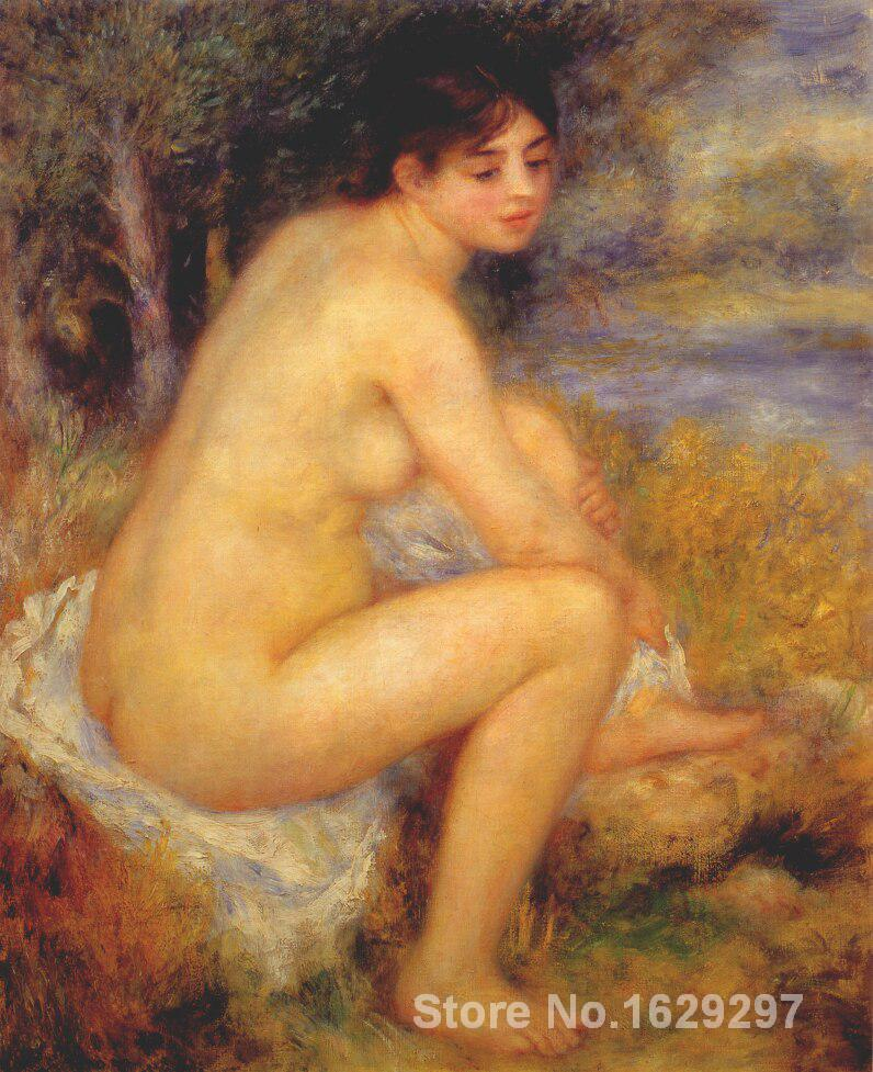 artwork of Pierre Auguste <font><b>Renoir</b></font> <font><b>Nude</b></font> in a landscape handmade art paintings reproduction High Quality