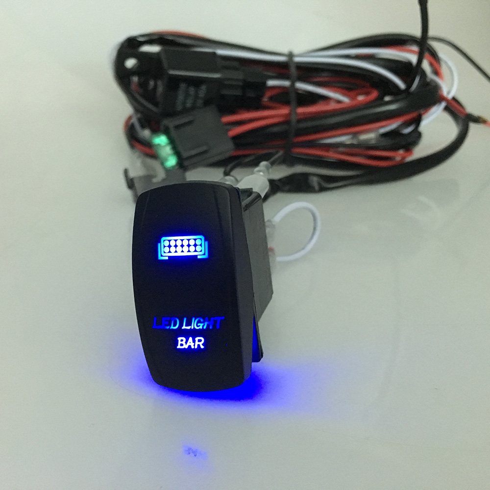 LED Light Bar Rocker On/Off Switch with Relay Wiring Harness Kit 12V ...