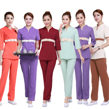 (1 set/lot)Beautician overalls and beauty salon work clothes with high elastic c