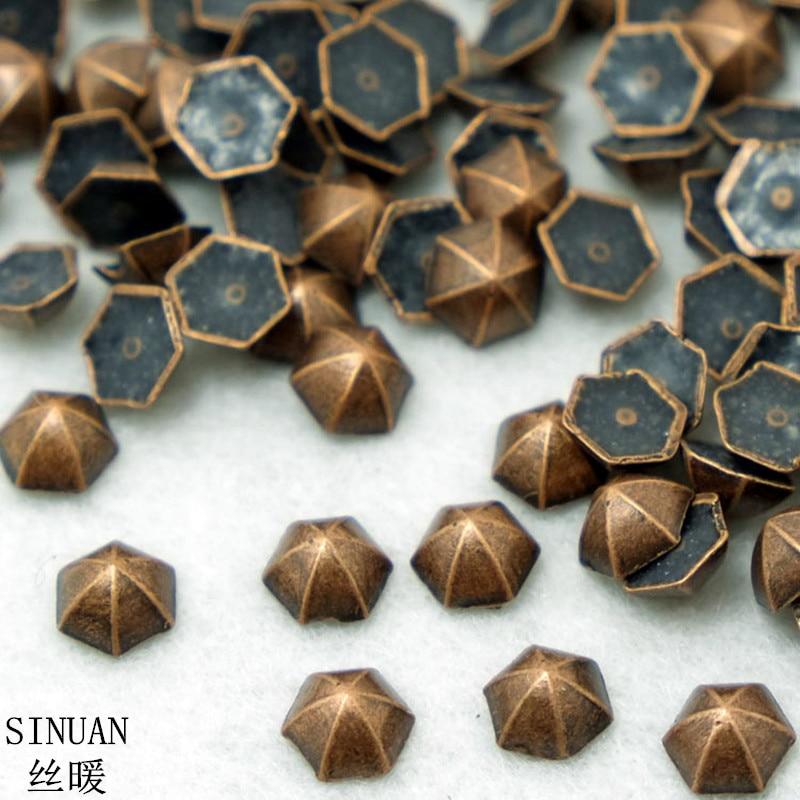 Sinuan Pyramid Rivet Hot Fix Spike Studs 6mm 8mm 10mm Punk Stereoscopic Hexagonal Metal