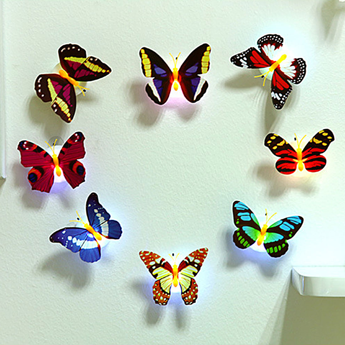 Led Night Lights 2019 Latest Design Romantic Led Night Light Atmosphere Lamp Colorful Butterfly Indoor Light With Suction Pad Home Party Desk Wall Decoration