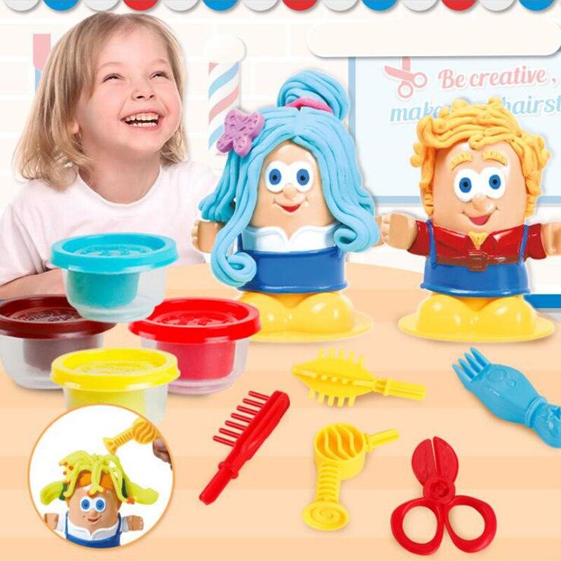 Kids Handmade Hairstylist Toys DIY Play Dough Model Hair Grow Design Cut Comb Creative Dough Toys Fashion Gift For Children