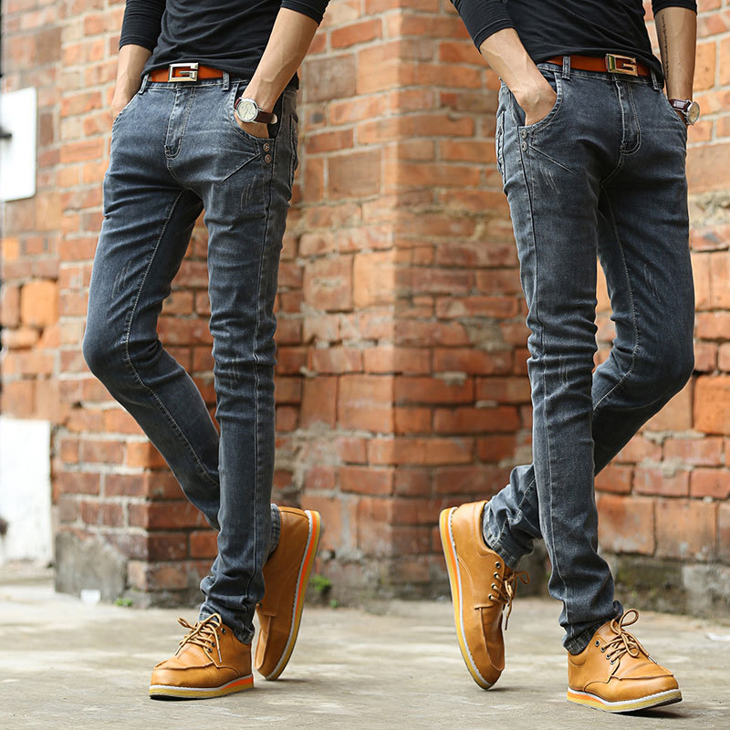 2018 NEW Vintage Men Slim Fit   Jeans   High Quality Trousers Designer Business